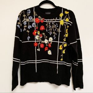 Topshop floral embroidered sweater